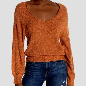 ABOUND (NORDSTROM) BOUCLE KNIT DEEP V-NECK PULLOVER SWEATER, AMBER ORANGE XS
